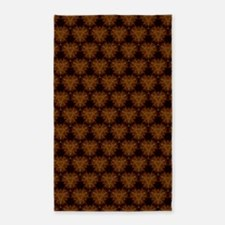 Abstract Brown and Gold 3'x5' Area Rug