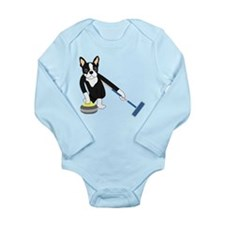 Boston Terrier Curling Long Sleeve Infant Bodysuit
