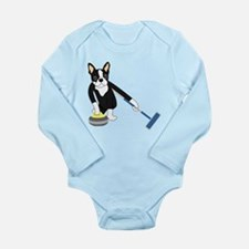 Boston Terrier Curling Long Sleeve Infant Bodysuit
