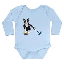 Boston Terrier Curling Onesie Romper Suit