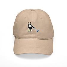 Boston Terrier Olympic Curling Baseball Cap