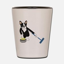 Boston Terrier Olympic Curling Shot Glass