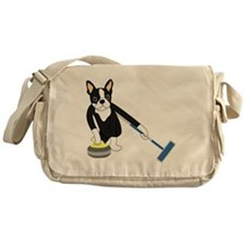 Boston Terrier Olympic Curling Messenger Bag