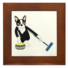 Boston Terrier Olympic Curling Framed Tile