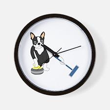 Boston Terrier Olympic Curling Wall Clock