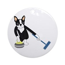 Boston Terrier Olympic Curling Ornament (Round)