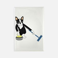 Boston Terrier Olympic Curling Rectangle Magnet