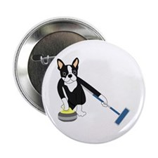 """Boston Terrier Olympic Curling 2.25"""" Button"""