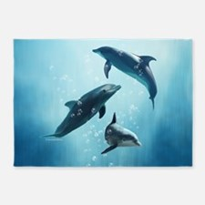 Dolphins in the Sea 5'x7'Area Rug