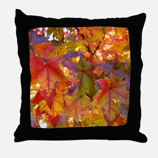Autumn Leaves 97M Red Colorful Fall T Throw Pillow