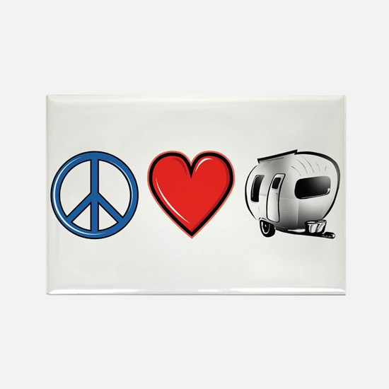 Peace Love & Camping Rectangle Magnet