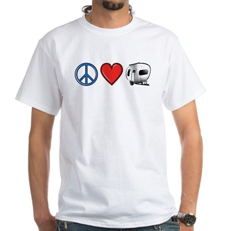 Peace Love & Camping White T-Shirt