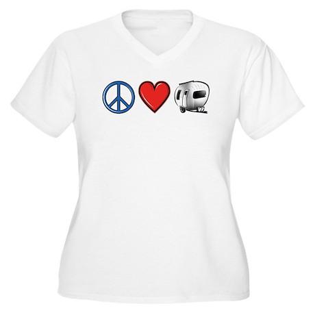 Peace Love & Camping Women's Plus Size V-Neck T-Sh