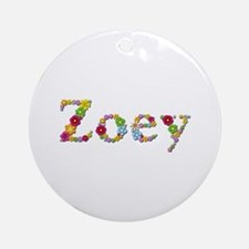 Zoey Bright Flowers Round Ornament