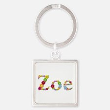 Zoe Bright Flowers Square Keychain