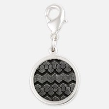 Tire Tracks Silver Round Charm