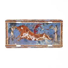 Taureau Cavaliers à Knossos Aluminum License Plate