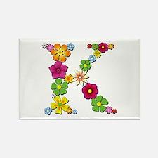 K Bright Flowers Rectangle Magnet