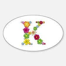 K Bright Flowers Oval Decal