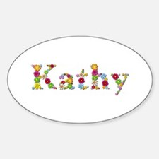 Kathy Bright Flowers Oval Decal