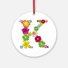 K Bright Flowers Round Ornament