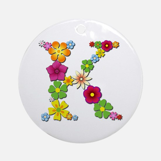 K Bright Flowers Round Ornament