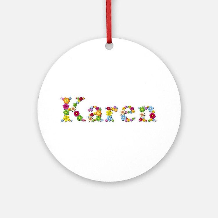 Karen Bright Flowers Round Ornament