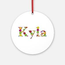 Kyla Bright Flowers Round Ornament