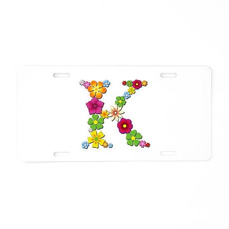 K Bright Flowers Aluminum License Plate