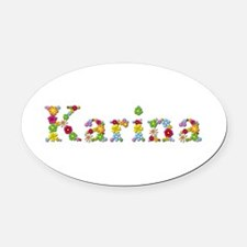 Karina Bright Flowers Oval Car Magnet