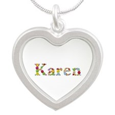 Karen Bright Flowers Silver Heart Necklace