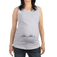 Twin Peeking Babies Maternity Tank Top