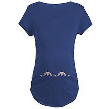 Twin Peeking Babies Maternity T-Shirt