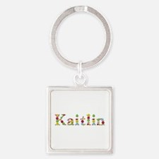 Kaitlin Bright Flowers Square Keychain