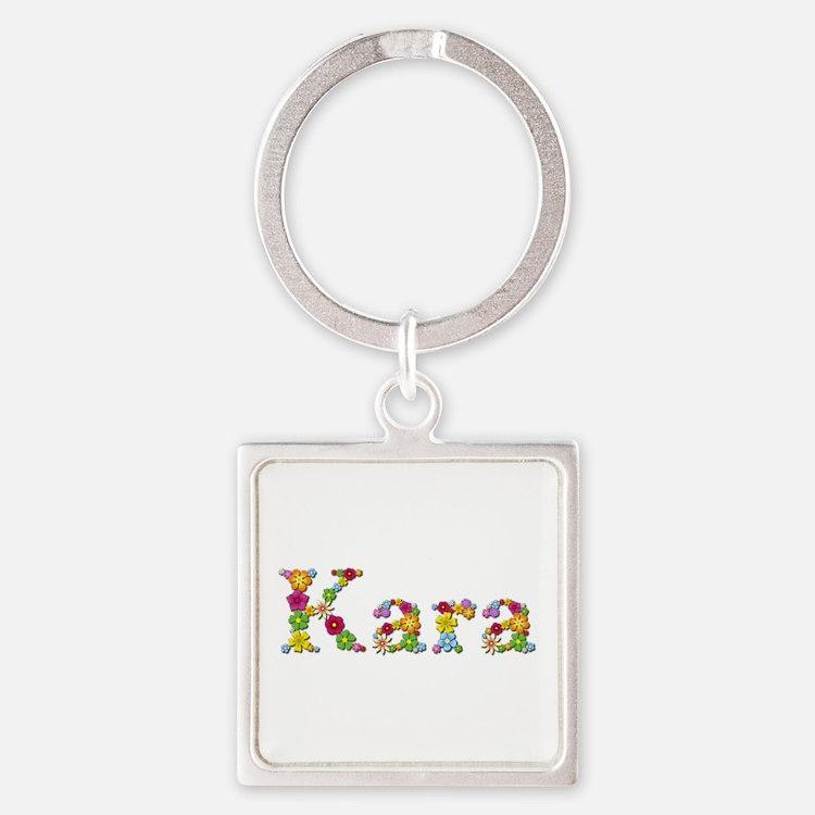 Kara Bright Flowers Square Keychain