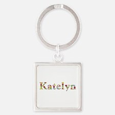 Katelyn Bright Flowers Square Keychain