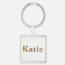 Katie Bright Flowers Square Keychain
