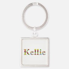 Kellie Bright Flowers Square Keychain