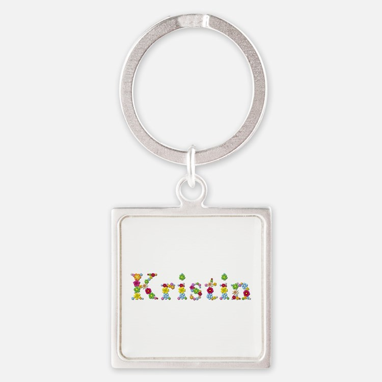 Kristin Bright Flowers Square Keychain