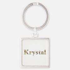 Krystal Bright Flowers Square Keychain