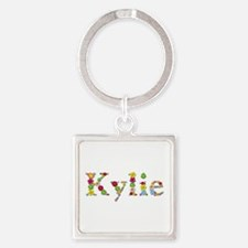 Kylie Bright Flowers Square Keychain
