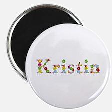 Kristin Bright Flowers Round Magnet