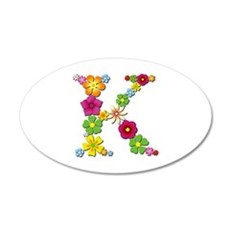 K Bright Flowers 35x21 Oval Wall Decal