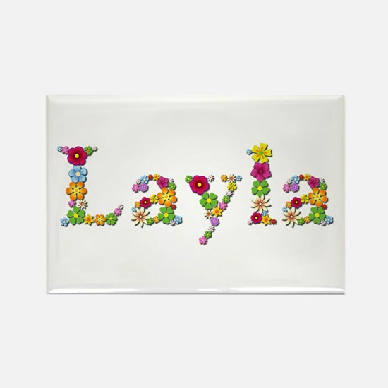 Layla Bright Flowers Rectangle Magnet