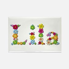Lila Bright Flowers Rectangle Magnet