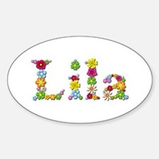 Lila Bright Flowers Oval Decal