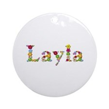 Layla Bright Flowers Round Ornament