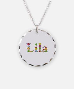 Lila Bright Flowers Necklace Circle Charm