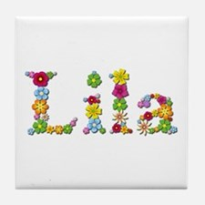Lila Bright Flowers Tile Coaster