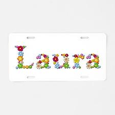 Laura Bright Flowers Aluminum License Plate